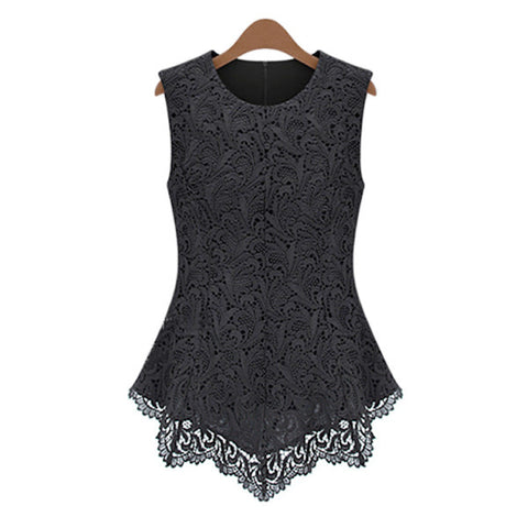 Embroidered Lace Sleeveless Top