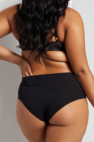 Thumbnail image #2 of Cotton High Waist Brief in Black [Brittney M-XL]