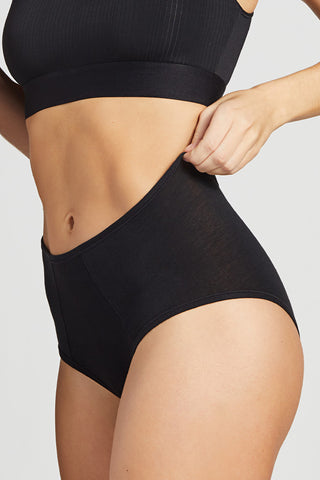 Thumbnail image #4 of Cotton High Waist Brief in Black [Christy XS-M]