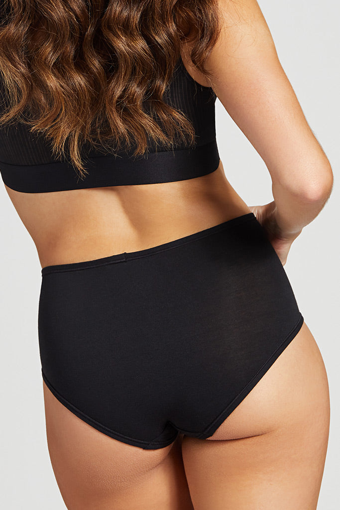 Product photo #5 of Cotton High Waist Brief in Black [Christy XS-M]