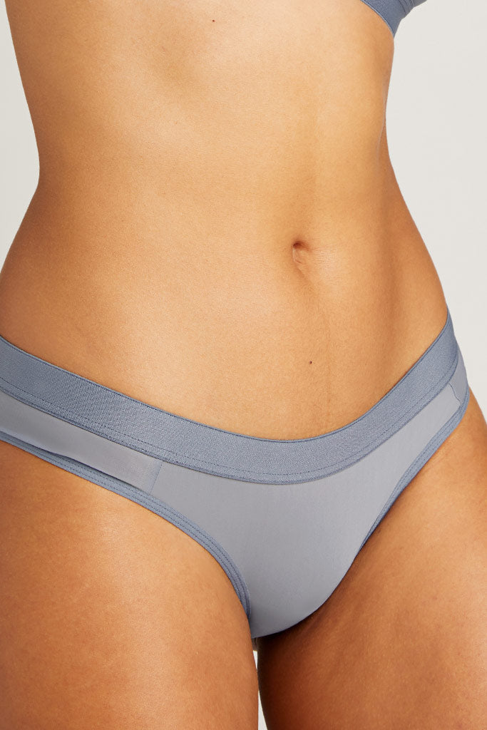 A low rise brief in our steely grey-blue tone, Slate