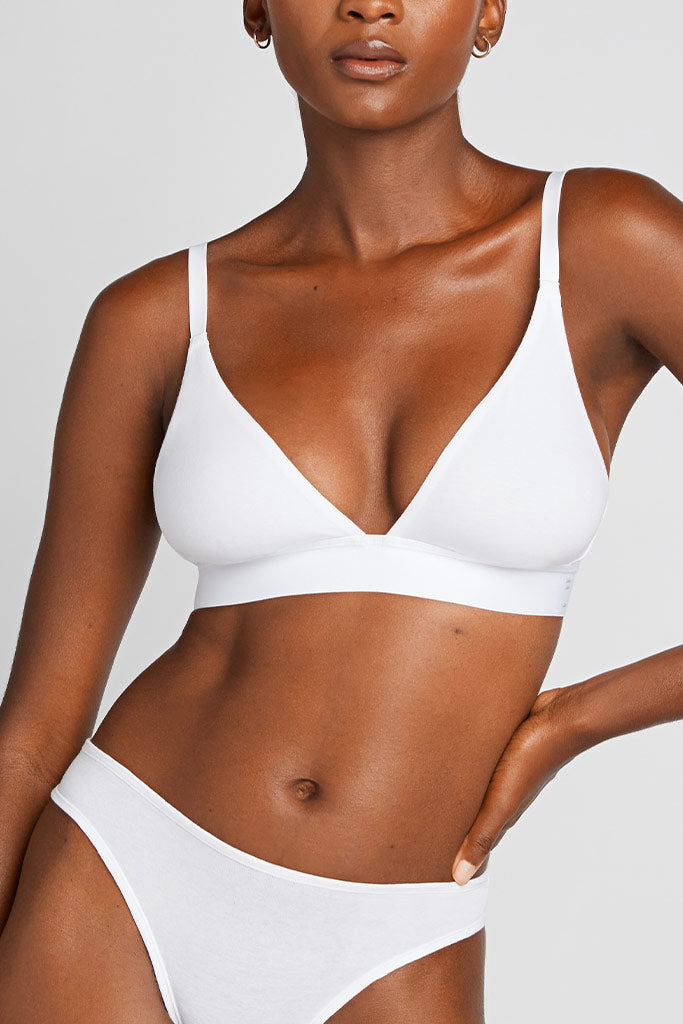 Product photo #2 of Cotton Triangle Bra in White [Aube 1]
