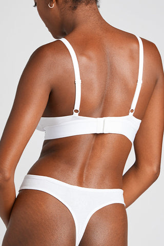 Thumbnail image #3 of Cotton Triangle Bra in White [Aube 1]
