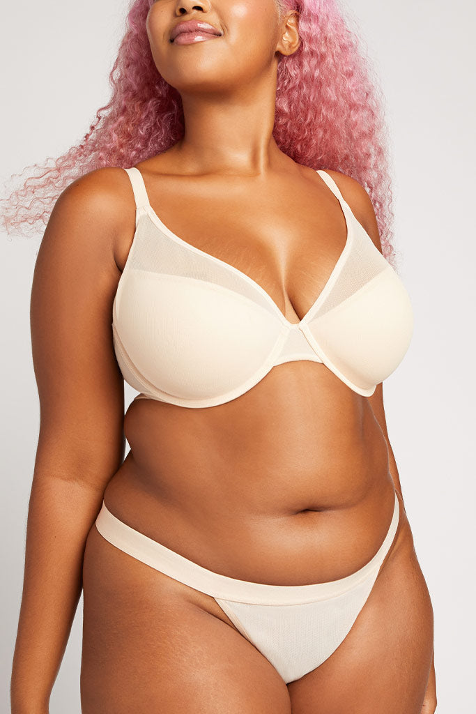 Product photo #5 of Lined Sieve Demi Bra in Peach [Hannah 36DD]