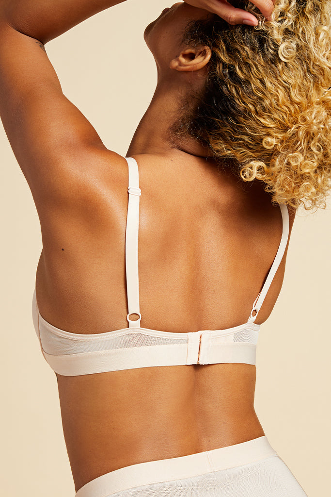 Product photo #3 of Lined Sieve Demi Bra in Peach [Jackie 32D]