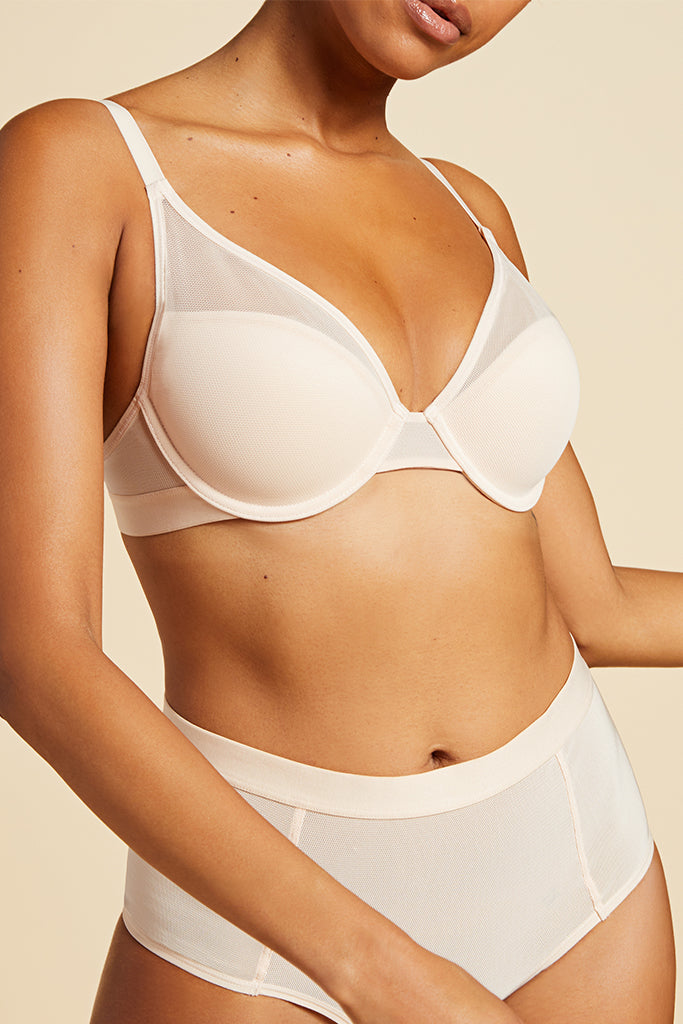 Product photo #1 of Lined Sieve Demi Bra in Peach [Jackie 32D]