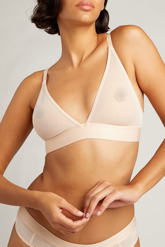 Sieve Triangle Bra in Peach