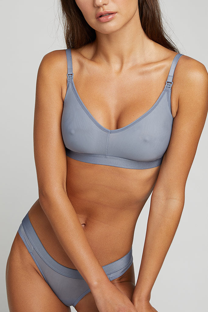 A silky and luxurious nursing bra with a low cut neckline