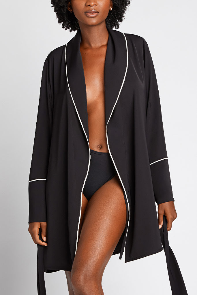A short length robe hits above the knee
