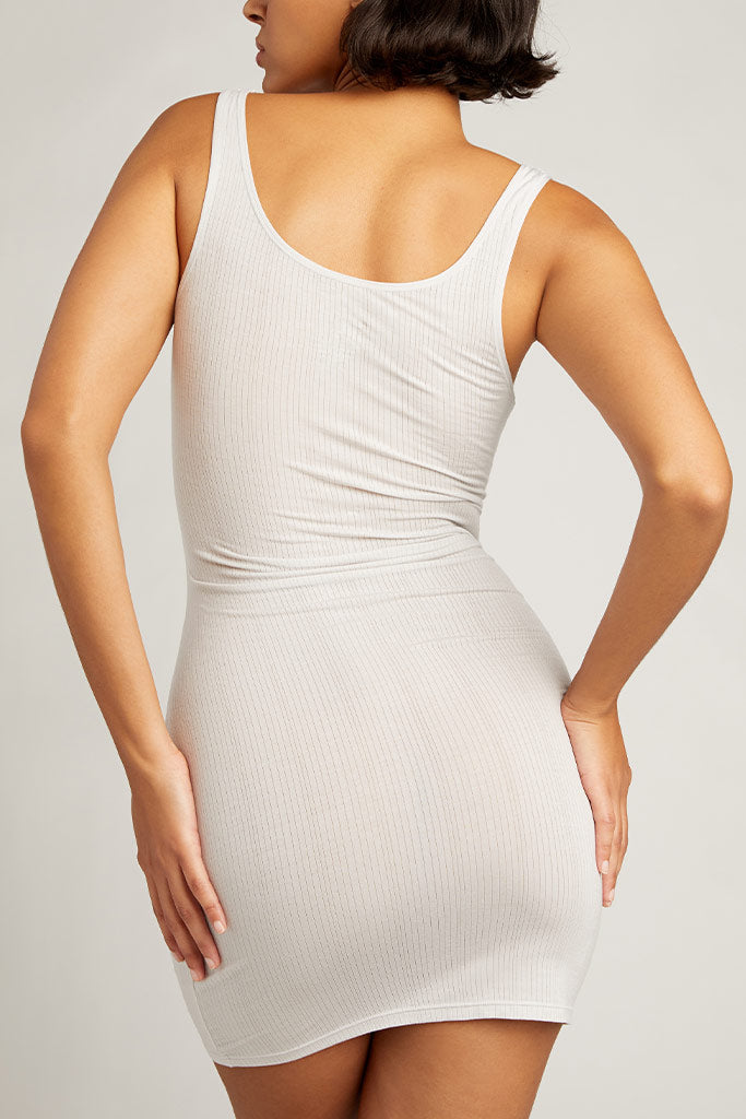 A slip dress in our soft pale silvery tone, Moon