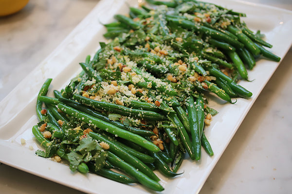 Ina Garten's Green Beans Gremolata on our Rectangular Serving Platter