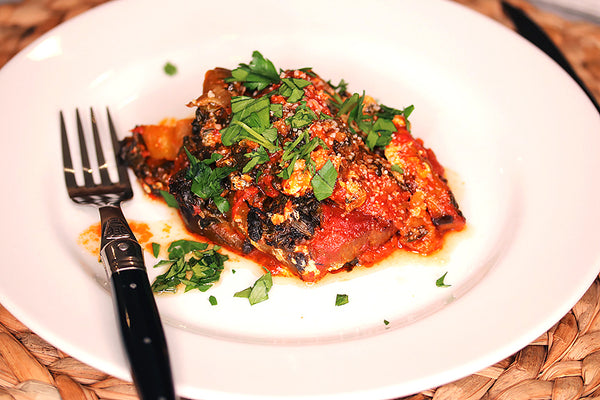 A serving of Ina Garten's Roasted Eggplant Parmesan on our white dinner plate