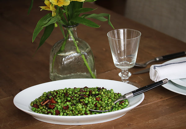 Ina's Peas & Pancetta in our Oval Serving Platter