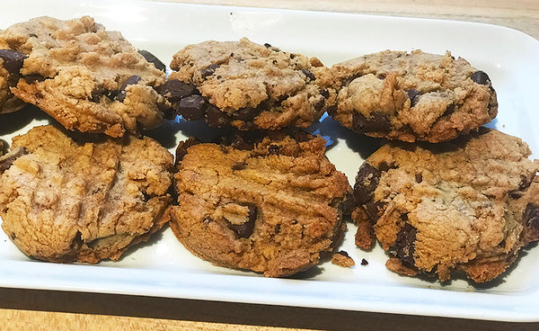 Ina Garten's Peanut Butter Chocolate Chunk Cookies stacked on our Narrow Platter