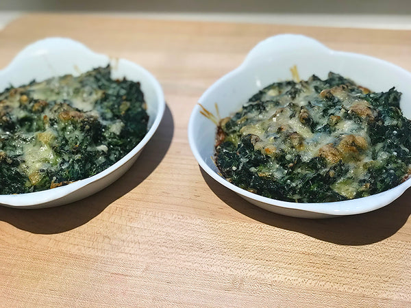 Ina Garten's Spinach Gratin served on our Round Gratin Dishes
