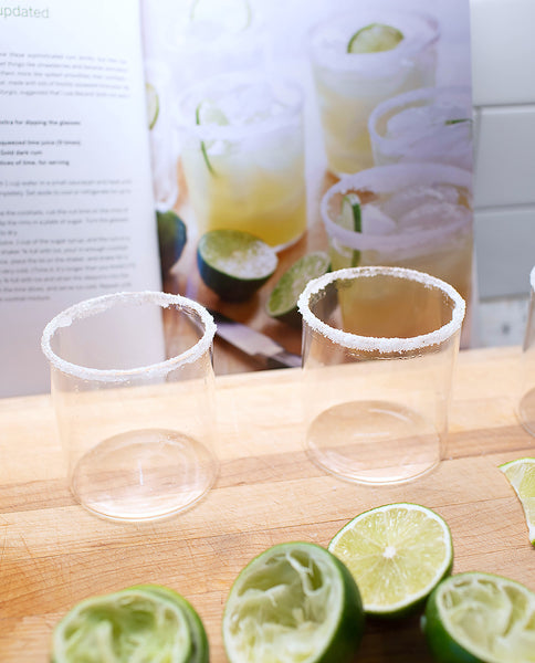 Double old fashioned glasses with sugar on the rim