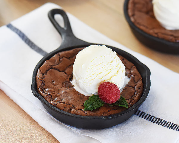 Ina's Skillet Brownie in our Mini Cast Iron Skillets