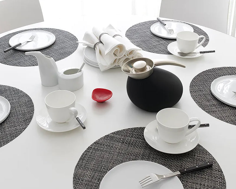 Round  Basketweave Placemat - Carbon