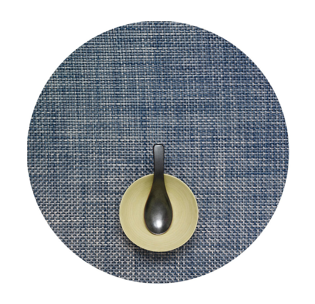 Round  Basketweave Placemat - Denim