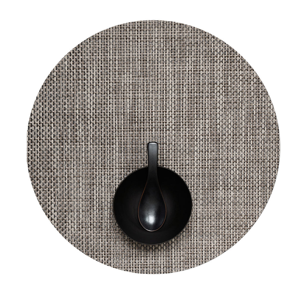 Round  Basketweave Placemat - Oyster