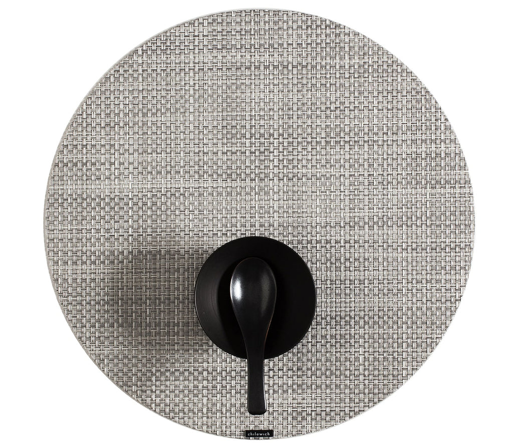 Round Basketweave Placemat - White/ Silver
