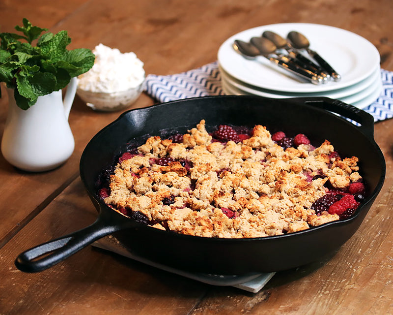 Berry Cobbler cooked and served in the 12-In Cast Iron Skillet.