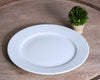 White dinner plate from Pillivuyt next to small plant