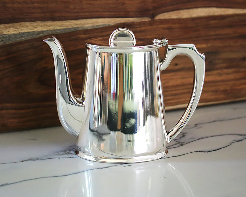 HÔTEL Silver  Coffee Pot  with a Half Moon Finial. Gorgeous Art Deco Style.