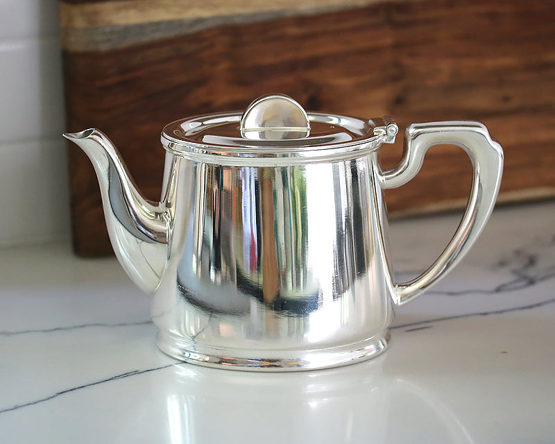 HÔTEL Silver Teapot with a Half Moon Finial. Gorgeous Art Deco Style.
