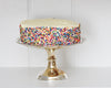 Vanilla cake with rainbow sprinkles displayed on a vintage HÔTEL Silver Cake Stand