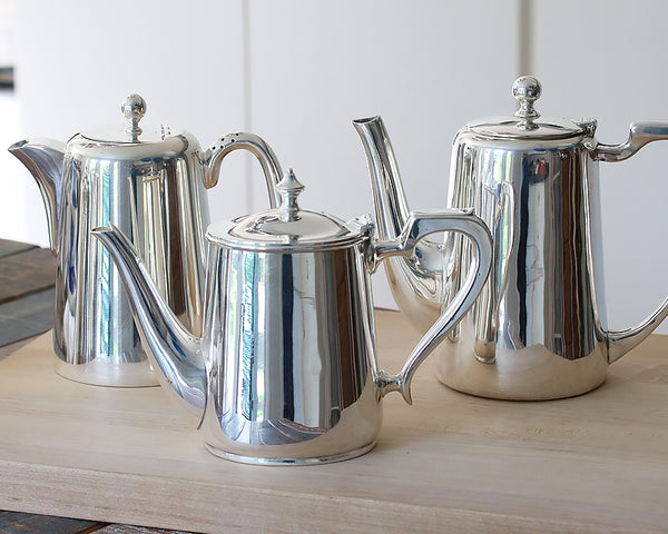 3 HÔTEL Silver Vintage Coffee Pots in various sizes and styles