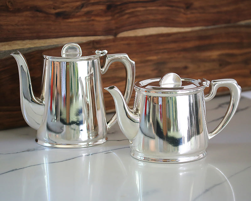 Vintage HÔTEL Silver Tea & Coffee Pots were made for the British Ministry of Defense and used in their officers' messes.