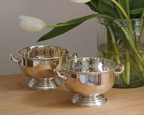 HOTEL Footed Silver Bowl With Handles
