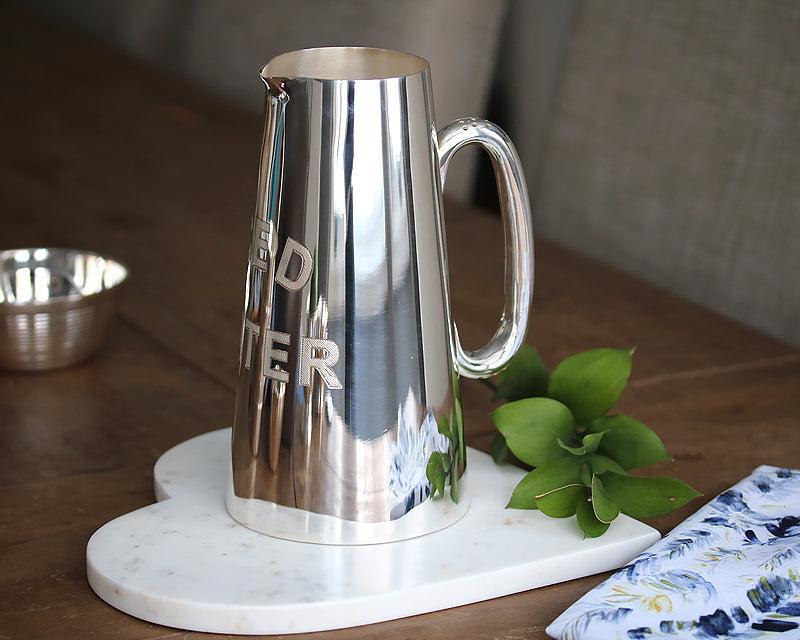 HÔTEL Silver 'Iced Water' Pitcher for serving cold drinks and cocktails
