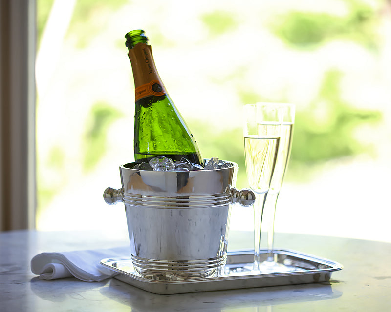 Wine chiller and glasses on HÔTEL Silver rectangular serving tray