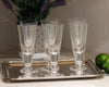 Set of 6 La Rochere Antoine champagne flutes on silver serving tray