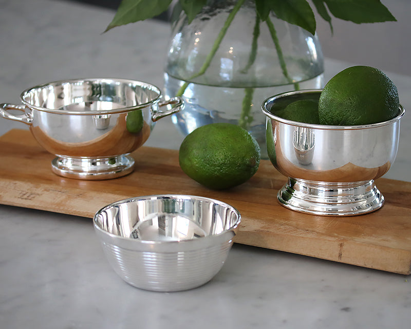 HÔTEL Silver Ribbed Nut Bowl and footed appetizer bowls