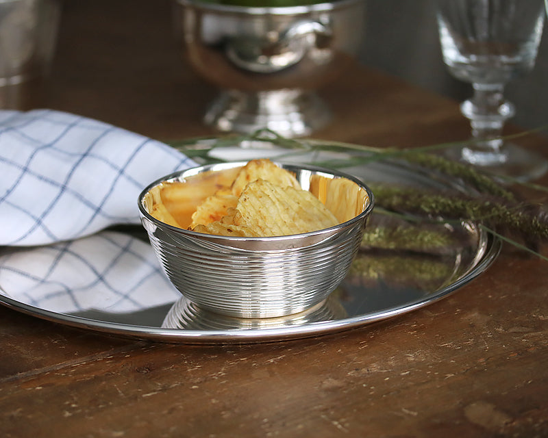 HÔTEL Silver Ribbed Charcuterie Bowl with chips