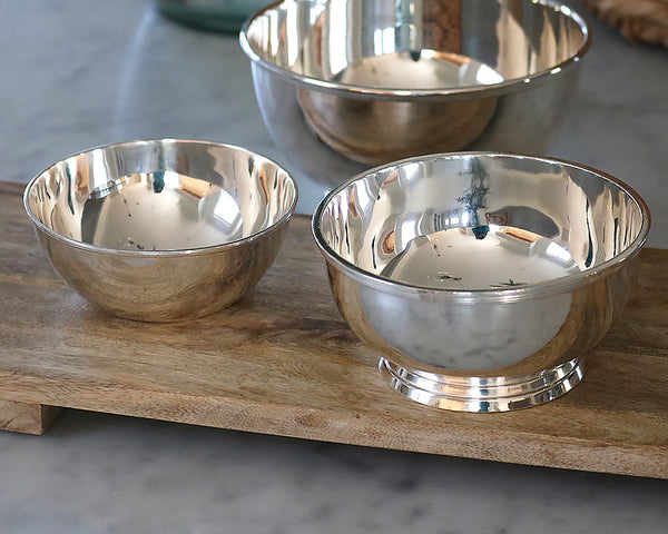 Silver Vintage Serving Bowls in 5 inch and 6 inch  diameter sizes