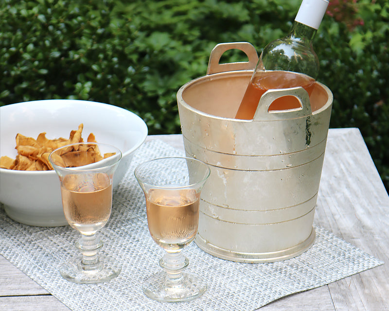 Rosé and snacks make a perfect cocktail party. Especially when the Rosé is in our gorgeous Hotel Silver Wine Chiller.