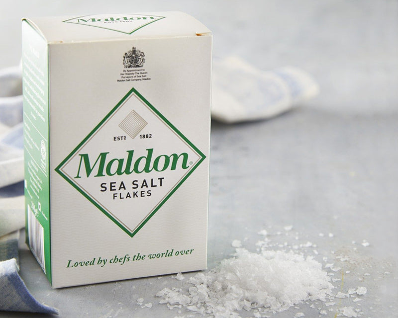 Maldon Sea Salt is a soft, flaky, pyramid shaped finishing salt harvested from the fens of Essex, England. Recognized all over the world as a premier finishing salt.