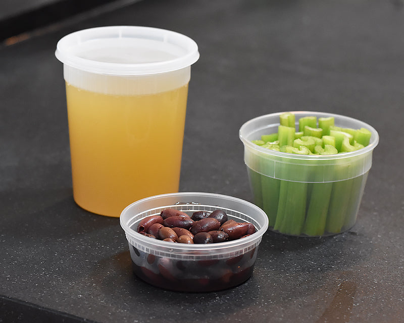 Clear Plastic containers used by Ina Garten storing chicken broth, celery, and beans.