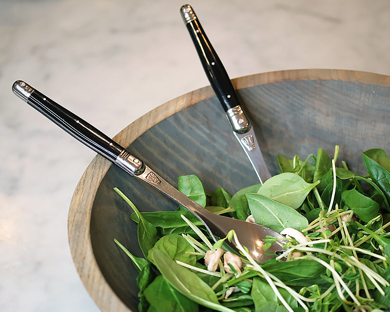 Salad Serving Set in our Wooden Salad Bowl filled with field greens.
