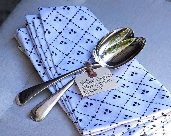 HÔTEL Vintage English Kitchen Spoons - Set of 2 over a folded napkin