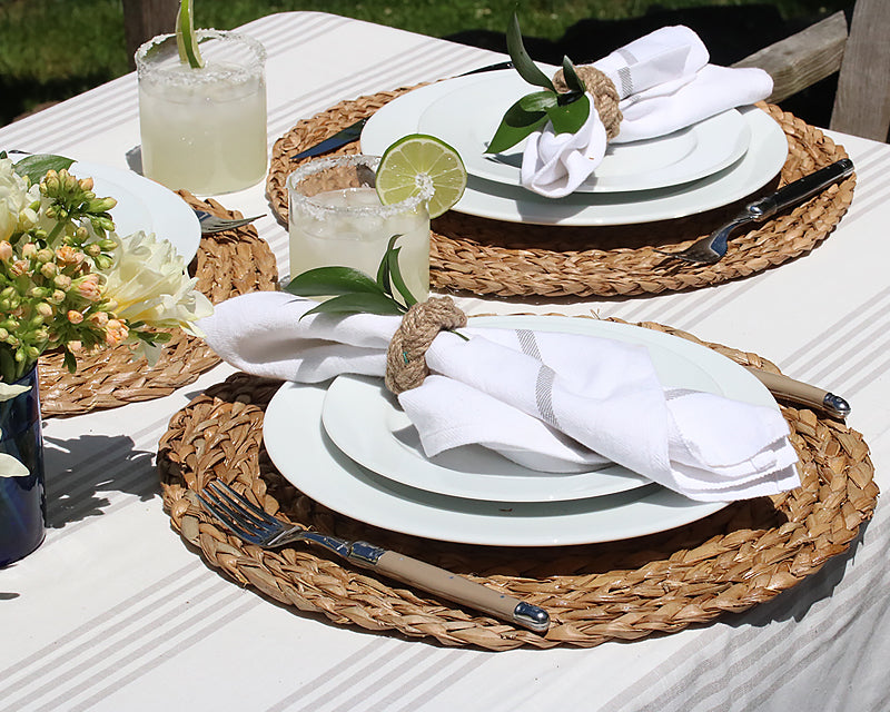 Summer table setting with 5pc Pillivuyt White dinnerware place settings