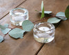 Clear glass tealight on a wood table. Adds sparkle to any table.