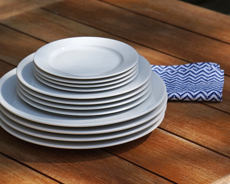 White French dinnerware plates from Cassandra's Kitchen stacked upon one another