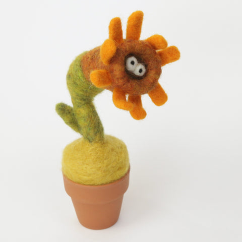 Needle Felting Sun Flower Monster with clay pot