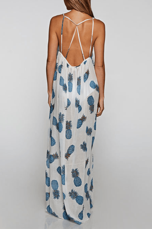 Tropical Pineapple Maxi Dress