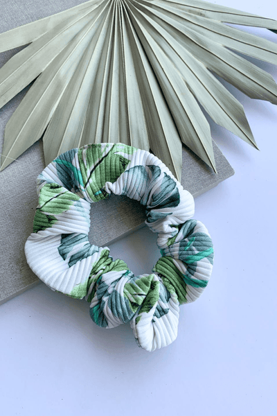 Tropical Leaves Ribbed Scrunchie
